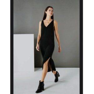 Everlane E1 Black V-Neck Slip Midi Dress